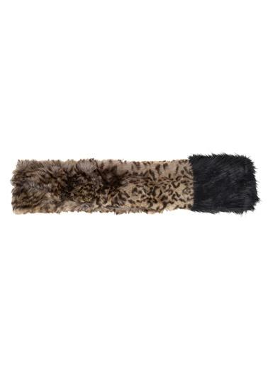 Monamoda Leopar Desenli Peluş Şal Siyah